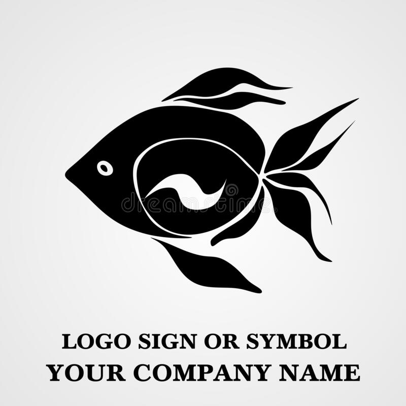 Fish logo template for design. Icon of seafood restaurant. Animals in a natural environment. Illustration of graphic flat style royalty free stock photos