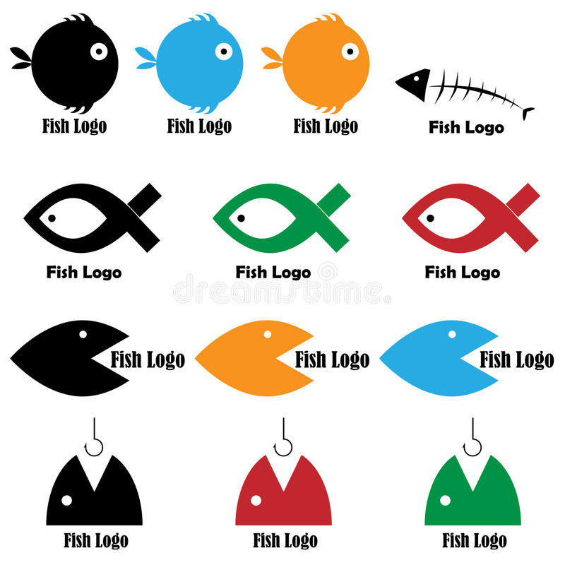 Fish logos. Set of thirteen fish logos isolated on white background. Colors and black/white version.EPS file available royalty free illustration