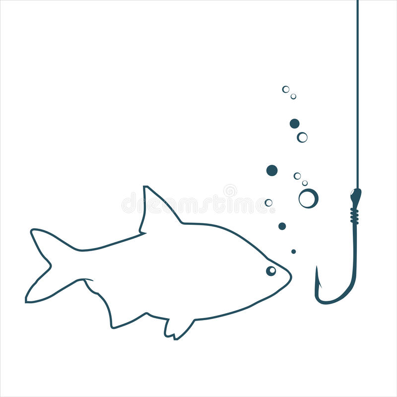 Fish looking on a hook stock illustration