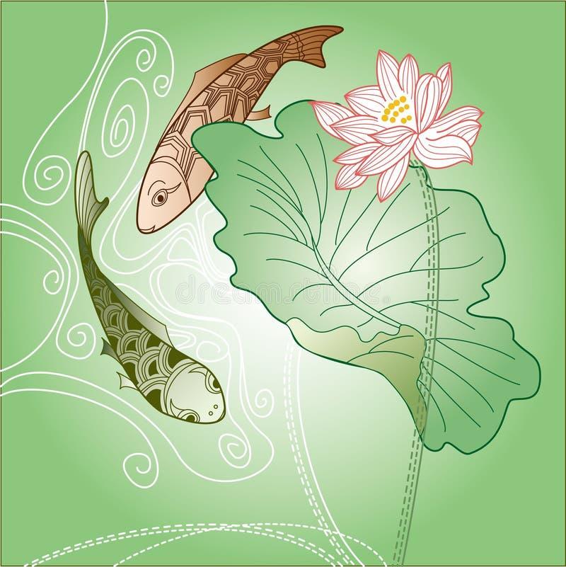 Fish and lotus royalty free stock photo