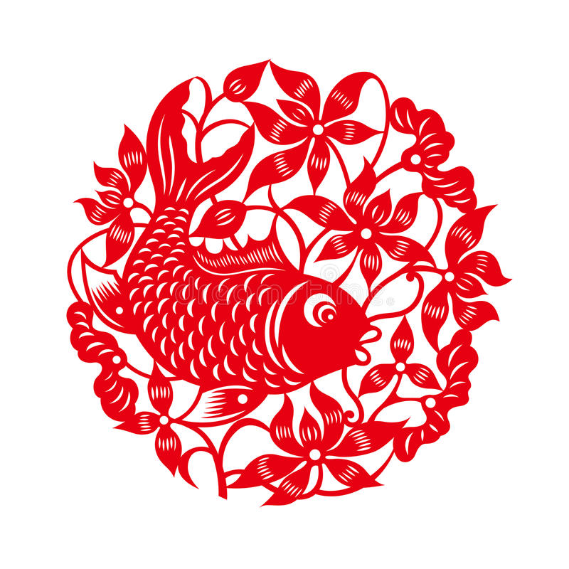 Fish with lotus(Chinese traditional paper-cut art) vector illustration
