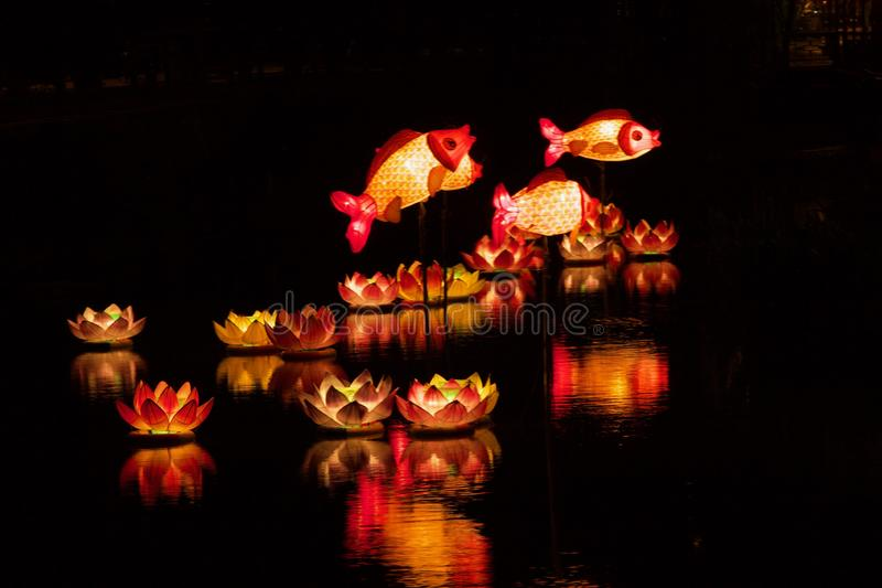 Fish and Lotus Lanterns on the River. Fish and Lotus Lantern on the River in Chinese New Year, meaning happiness and surplus every year stock photos