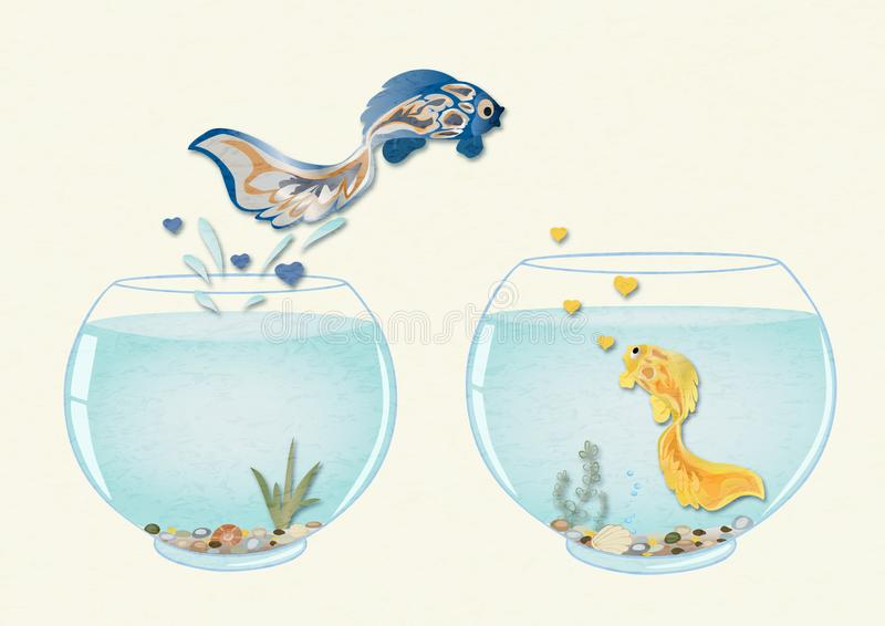Fish in love jumping to aquarium to his beloved, romantic concept of Valentine`s day. stock images