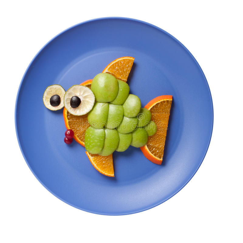 Fish made of fruits royalty free stock photography