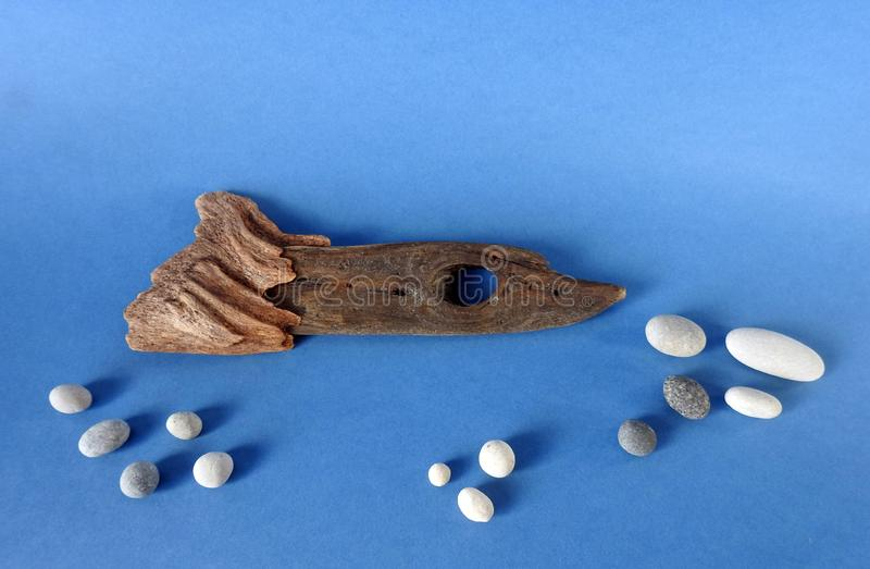 Fish made from sea wood on blue background royalty free stock photos