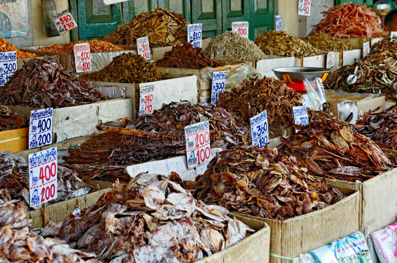 Fish market in Bangkok. A fish market with different fish and seafood in Bangkok, Thailand stock photos