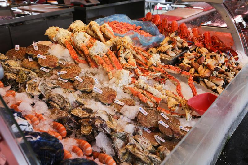 Fish market Bergen. Various seafood on the shelves of the fish market in Norway, Bergen royalty free stock photos