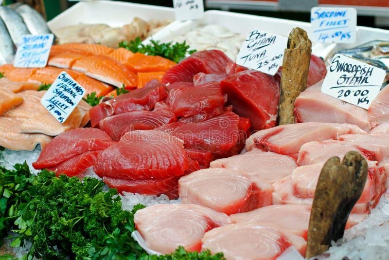 Fish market. Big assortment of fresh seafood on fish market royalty free stock photo