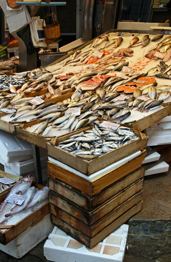 Fish market. Bunch of fresh seafood at fish market stock photography