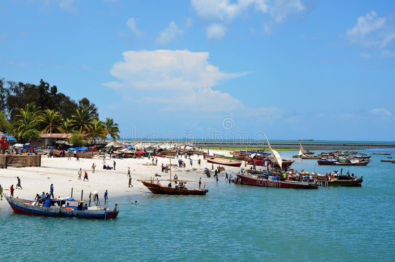Fish market in Dar Es Salaam. Local Fish market in Dar Es Salaam, exactly on the beach, Tanzania royalty free stock image