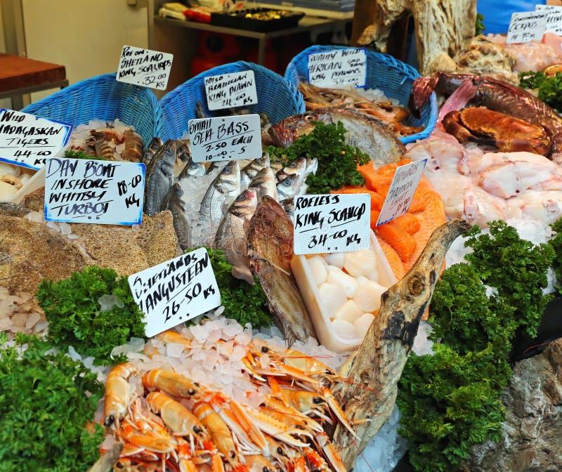 Fish market. Fresh seafood at fish market stall stock images