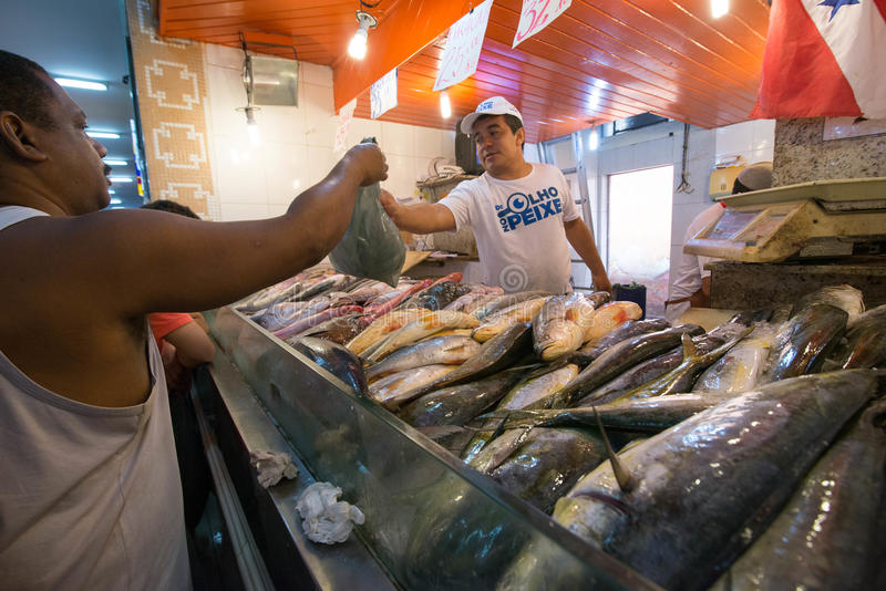 Fish market. NITEROI, RJ/Brazil - APRIL 03, 2015: Selling fish in the popular market St. Peter during the Holy Week holiday. Seller delivers the fish to the royalty free stock photos