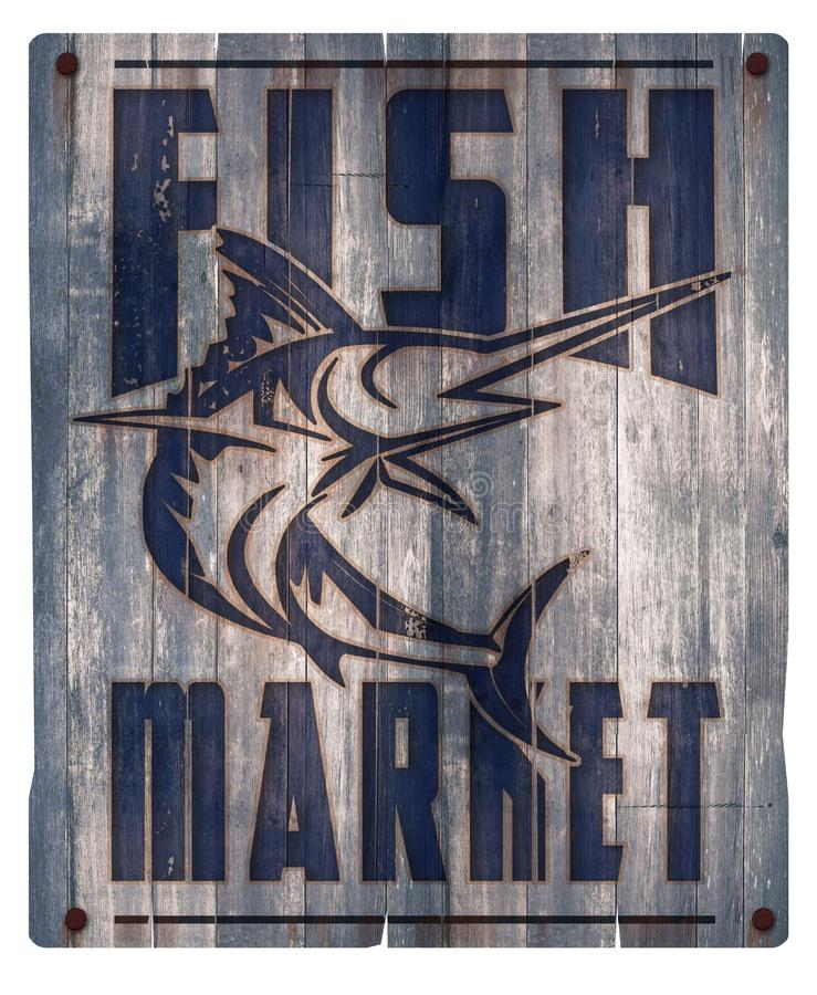 Fish Market Sign Wood. Rustic Vintage Distressed Old Crate Seafood Swordfish Fresh stock illustration
