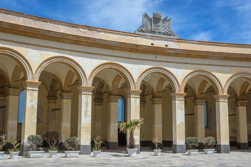 Fish Market Square in Trapani city. Colonnade on the old Fish Market Square in Trapani, capital of Trapani Province on Sicily Island in Italy, piazza, mercato royalty free stock images