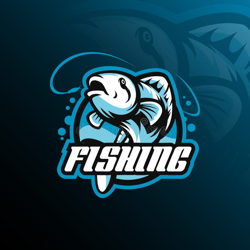 Fish mascot logo design vector with modern illustration concept style for badge, emblem and tshirt printing. fish jumping. Illustration with fishing rod vector illustration