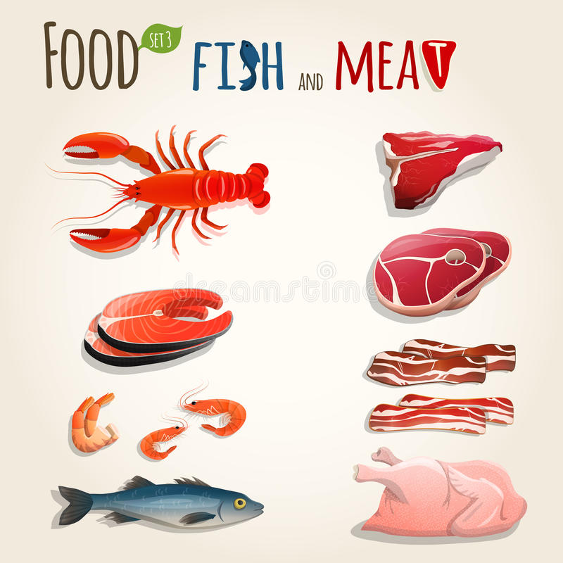 Fish and meat set royalty free illustration