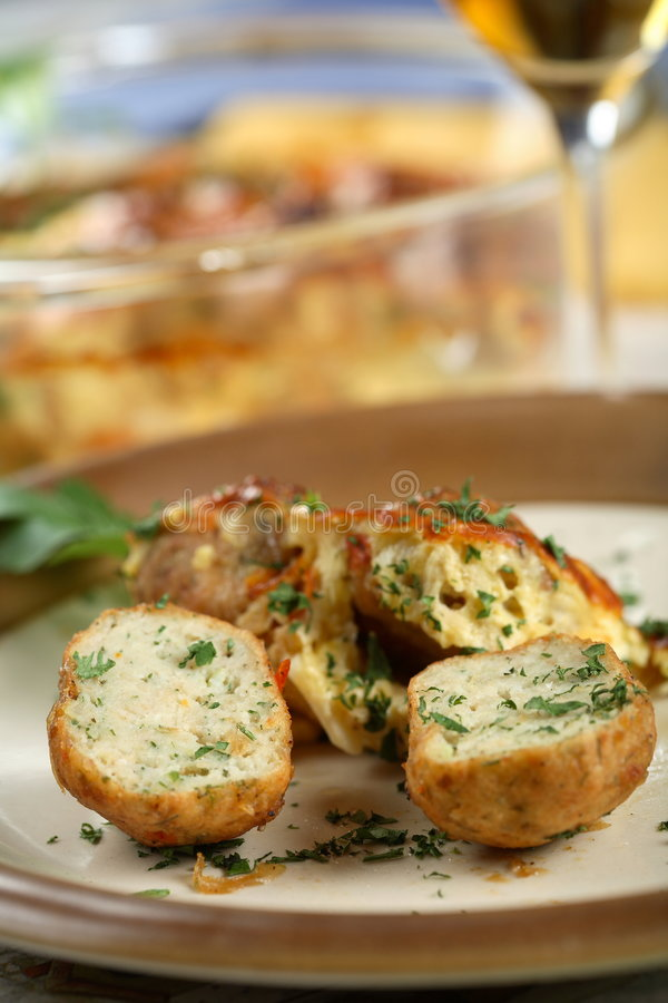 Fish meatball with wine royalty free stock images