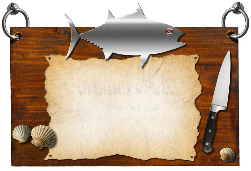 Fish Menu - Wooden Signboard. Wooden dark brown signboard with metal fish and kitchen knife, template for recipes or seafood menu stock illustration
