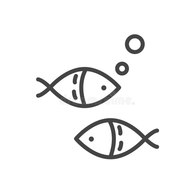 Fish minimal icon isolated. Modern outline on white background. Vector stock illustration