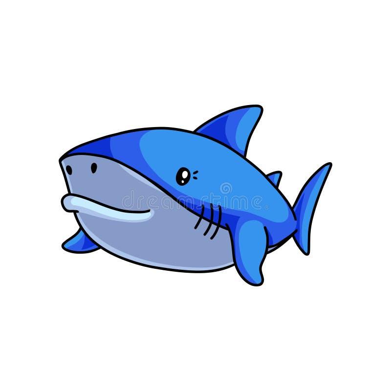 Fish monster cute blue shark swimming in deep sea. Near beach. Cartoon style. Vector illustration on white background royalty free illustration