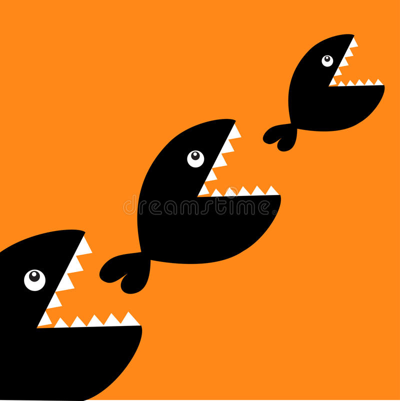 Fish monster eating each other. Three fishes. Food chain. Black color diagonal silhouette. Cute cartoon character set. Baby kids c. Ollection. Happy Halloween stock illustration