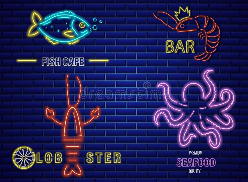Fish neon Vector icons set. Lobster, octopus and prawns symbol templates royalty free illustration