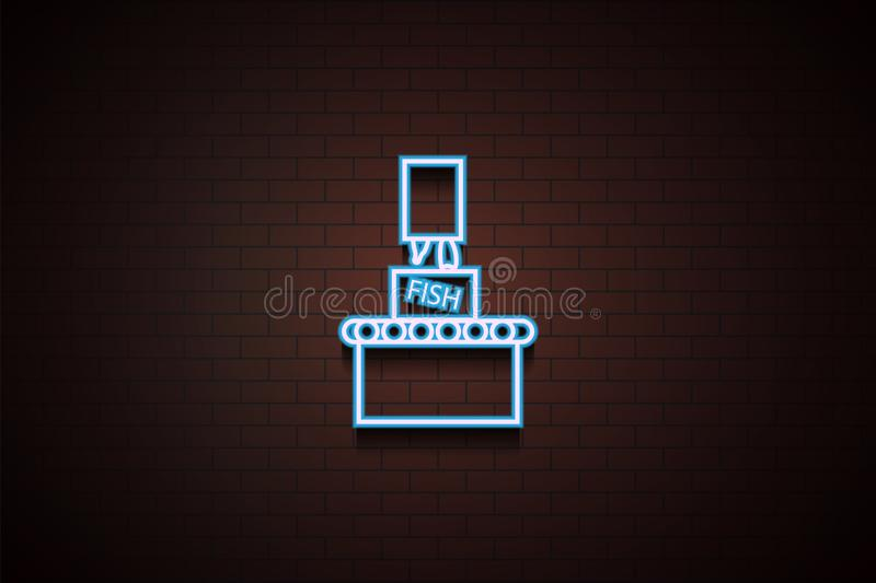 fish packing icon in Neon royalty free illustration