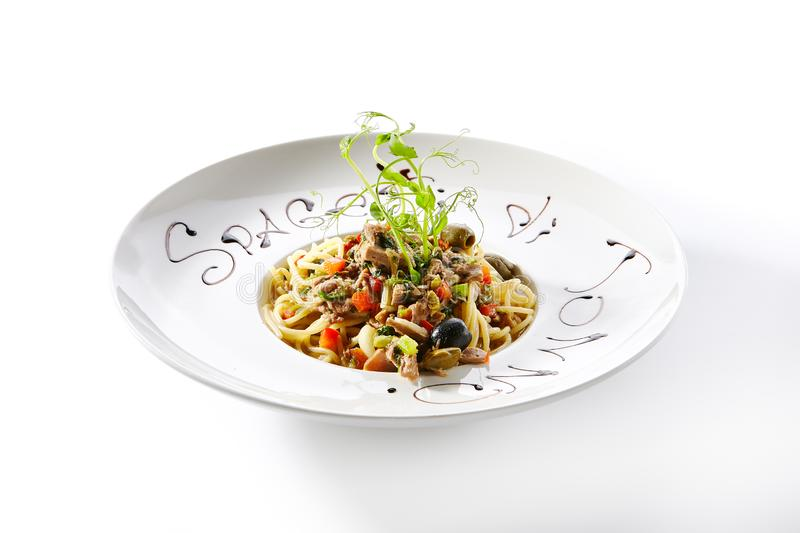 Fish Pasta or Spaghetti with Tuna Fillet and Vegetables stock photo