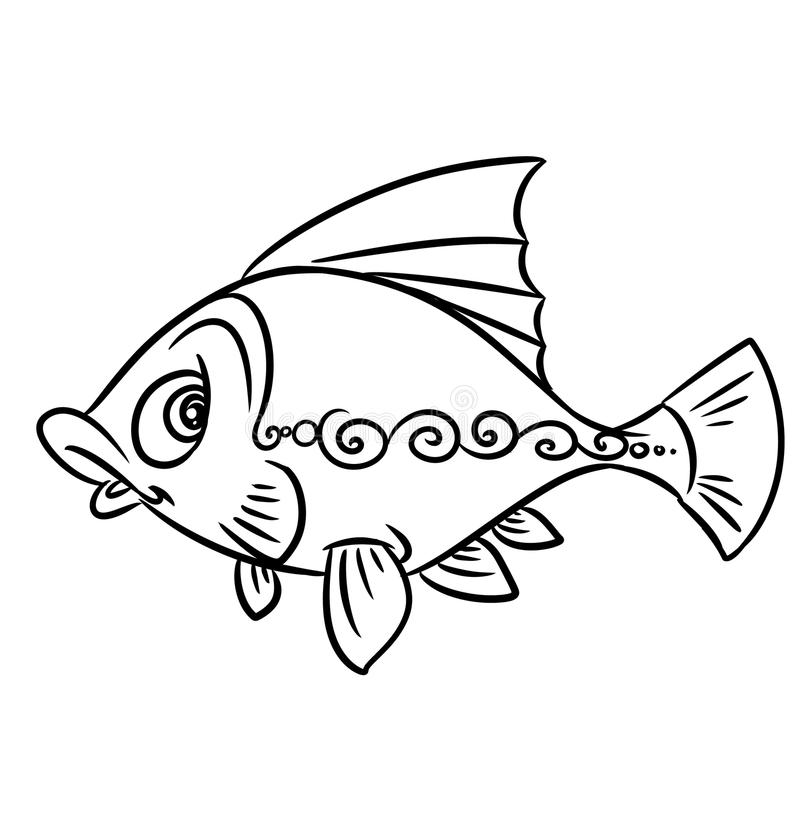 Fish pattern coloring pages. Illustration contour vector illustration