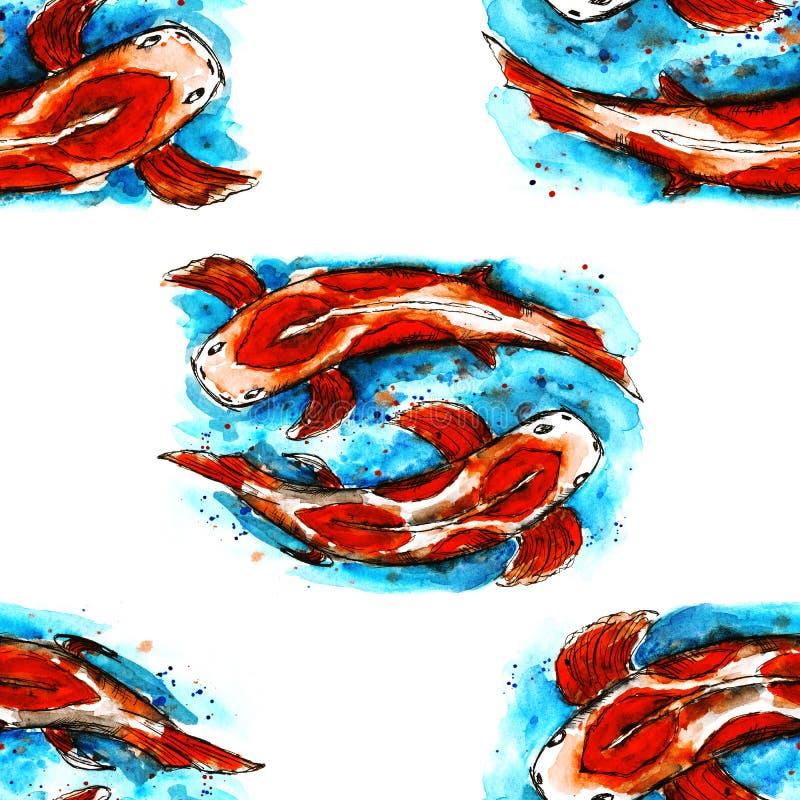 Fish pattern white background texture watercolor design illustration. Food t farm sea reservoir water art stock illustration