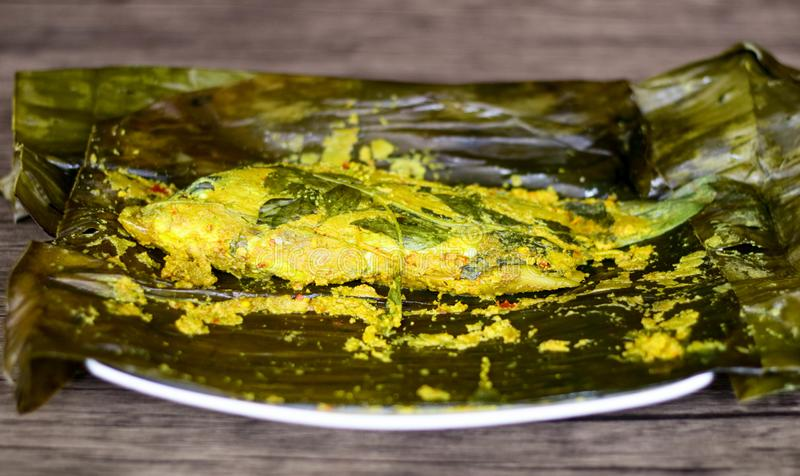 Fish Pepes. Pepes ikan or Fish Pepes. Indonesian food. Way to process foodstuffs usually for fish with banana leaves to wrap the fish and its marinade royalty free stock photo