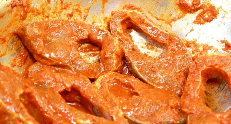 Fish pieces with spicy masala ready for cook. stock images