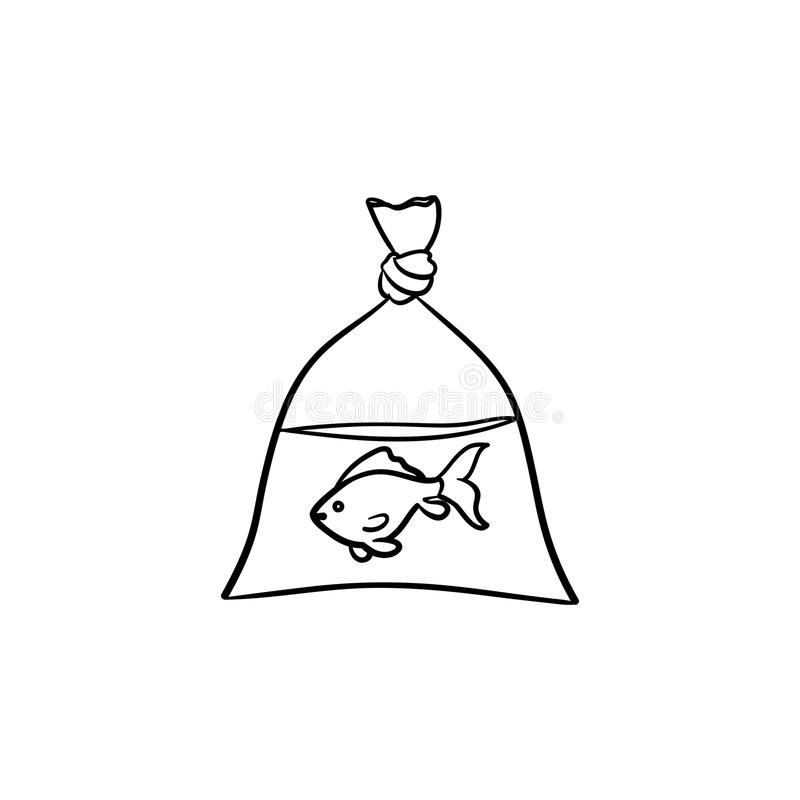 A fish in the plastic bag hand drawn outline doodle icon. stock illustration