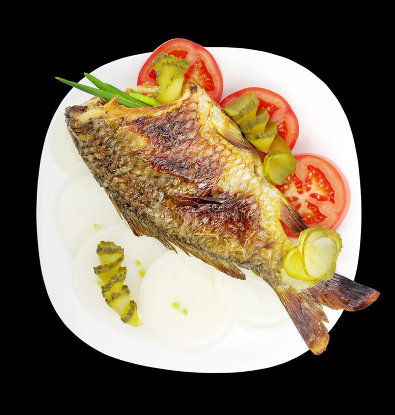 Fish on a plate. royalty free stock image