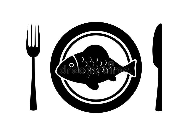 Fish on plate stock illustration