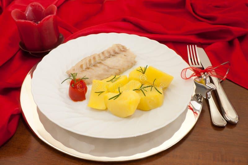 Fish Plate On Christmas Table royalty free stock image