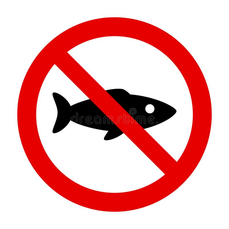 Fish and prohibition sign. As vector illustration vector illustration