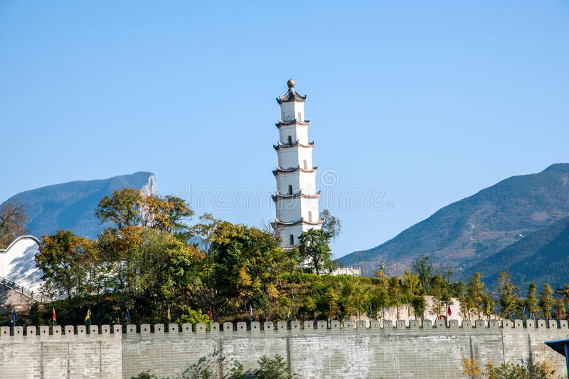 Fish re - tower in the ancient city of. Fengjie called fish complex county, on the `fish complex` name, there is a tragic touching legend. Warring States period stock photo