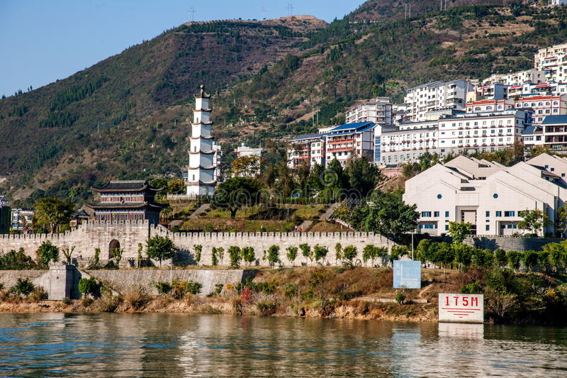 Fish re - tower in the ancient city of. Fengjie called fish complex county, on the `fish complex` name, there is a tragic touching legend. Warring States period stock images