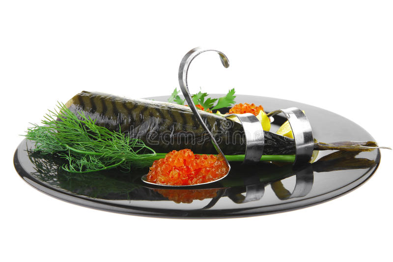 Fish And Red Caviar On Black Royalty Free Stock Photo