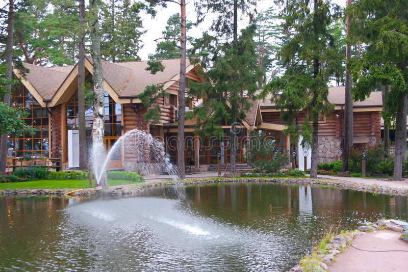 Download Fish restauran with pond stock image. Image of path, park - 28977531
