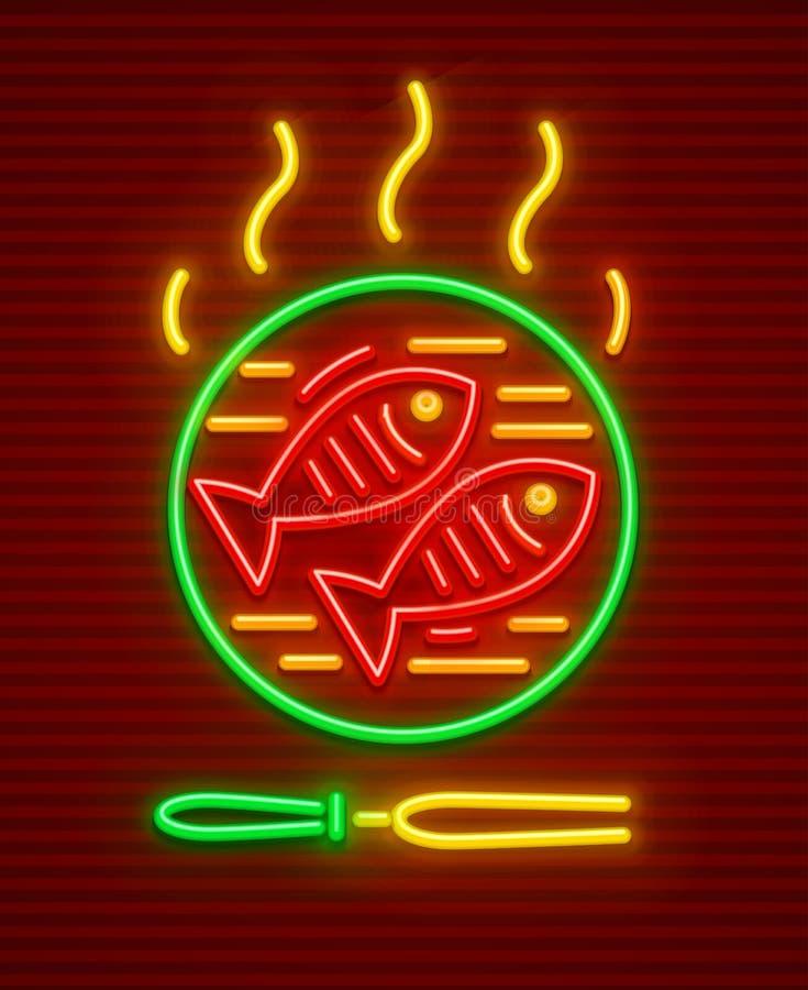 Fish roast at hot pan bbq picnic. Fishes barbeque at hot fry pan. Bbq fish picnic neon icon. EPS10 vector illustration vector illustration