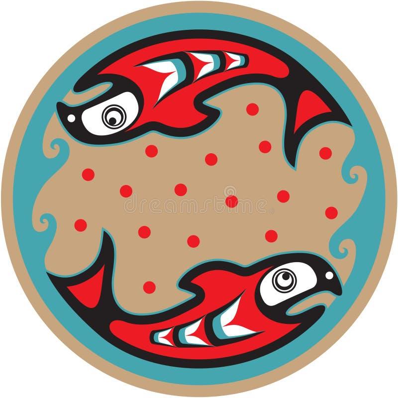 Fish - Salmon - Native American Style Stock Photos