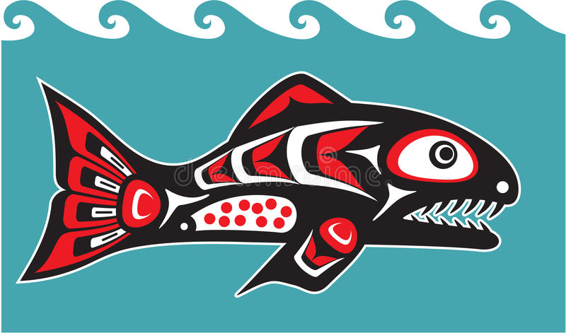 Fish - Salmon - Native American Style vector illustration