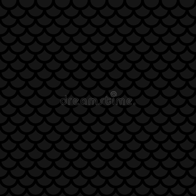 Fish scale. Black Neutral Seamless Pattern for Modern Design in stock illustration