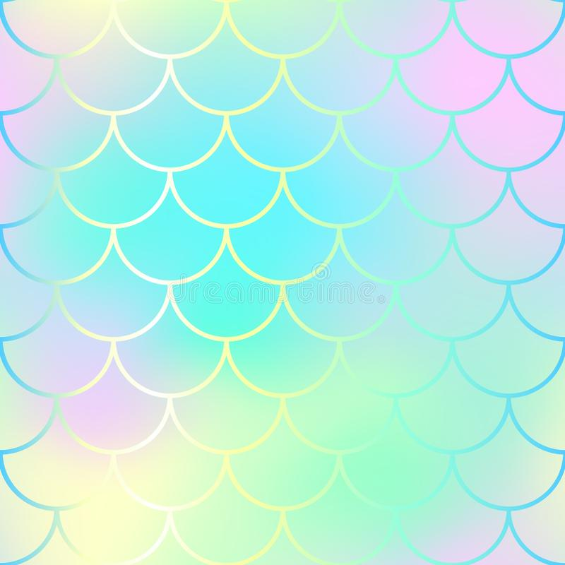 Fish scale pattern background. Gradient mesh texture. Candy color mermaid seamless pattern. vector illustration