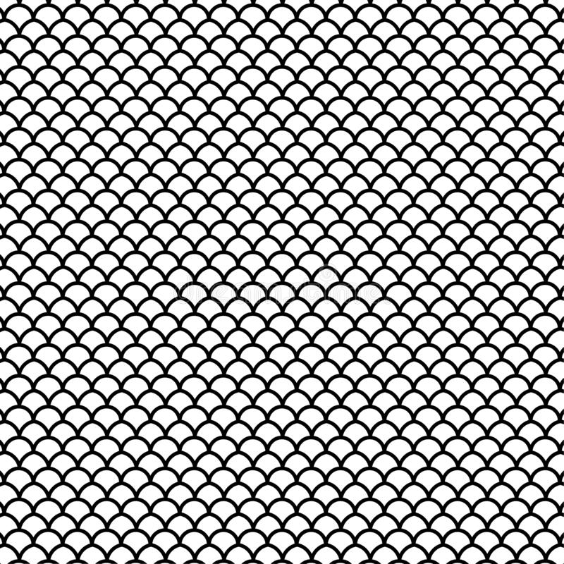 Fish scales black and white lines pattern  illustration stock photography