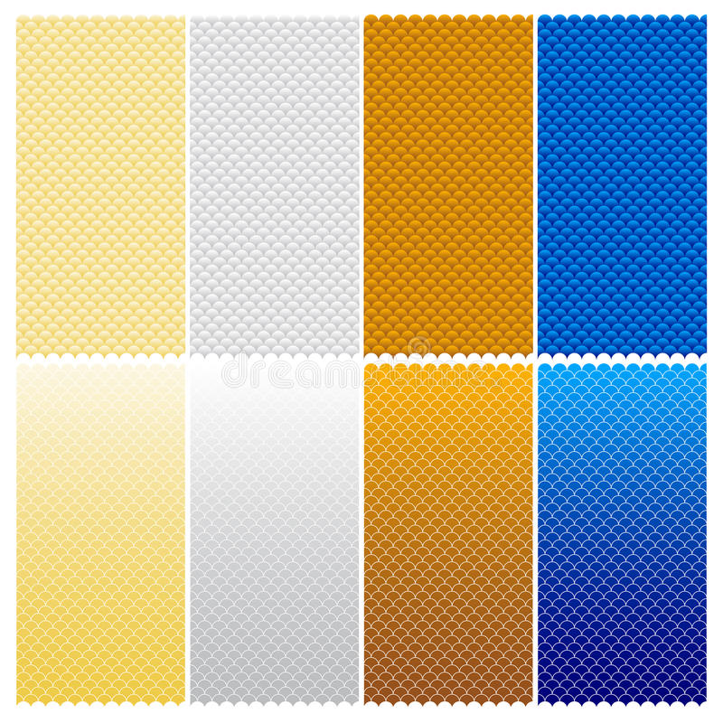 Fish Scales Seamless Pattern. Vector Seamless Pattern (Eight Variations - editable stroke width vector illustration