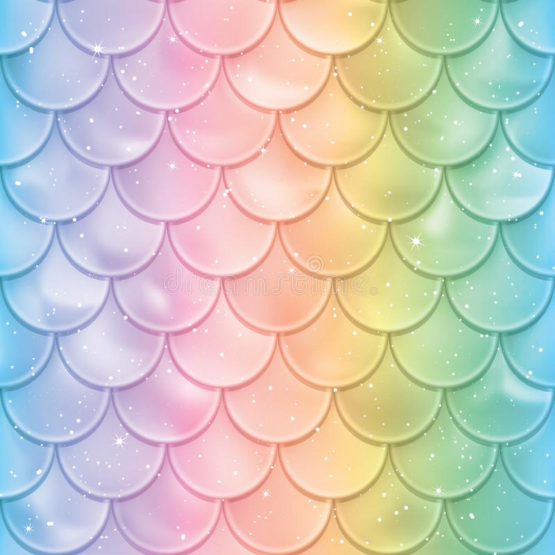 Fish scales seamless pattern. Mermaid tail texture in spectrum colors. Vector illustration. Print design for textile, posters, greeting or child birthday cards stock illustration