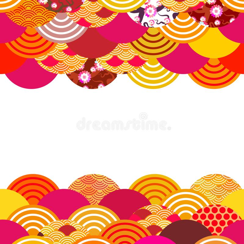 Fish scales simple Nature background with japanese sakura flower, rosy pink Cherry, wave circle pattern orange red burgundy colors royalty free illustration